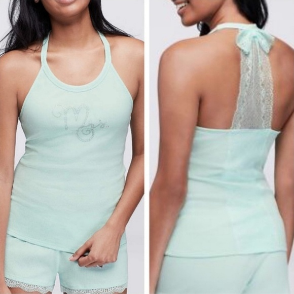 Betsey Johnson Bridal Party Mrs Jeweled Tank Top Light Blue Size Small NWT